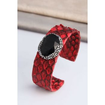 Cat Eye Stone Around Hematite stone ornate Snakeskin Patterned Artificial Leather Bracelet HN200416Ym