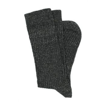Silvery Boot Type Black And Smoked Gray 2 Women Socks RBF7252