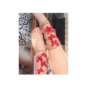 Butterflykissredtulle TulleSocks-Red1