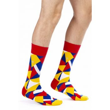 Men's Yellow Geometric Patterned Socks MCW1132