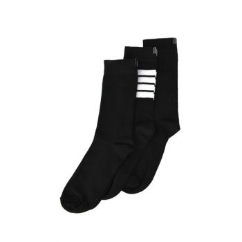 Black Men's Horizontal Striped 3 Socks TMNAW20CO0050
