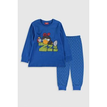 Boys' Blue Printed LQQ Pajamas Set 9WT307Z4
