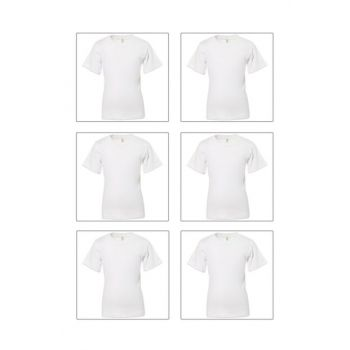 Boys Kids White 6-Piece Ribana Half Sleeve Undershirt Singlet 0706-P06 0706-p06