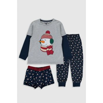 Boy Gray Gray Melan Pajamas Set 9WK487Z4