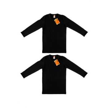 Boys Kids Black 2 Pack Thermal Long Sleeve Undershirt ELF568TUT0136T2