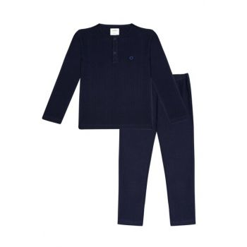 Organic Navy Blue Reported Interlock Boys Pajamas B_NAVYRIB_PJ_941