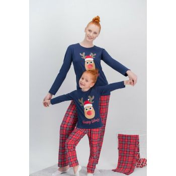 Winter Plaid Navy Blue Deer Girls Pajamas Set AR-358-C