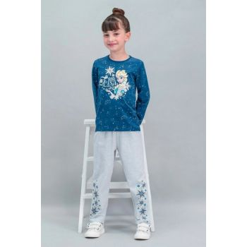 Snow Country - Frozen Licensed Navy Blue Girls Pajamas Set D4233-C