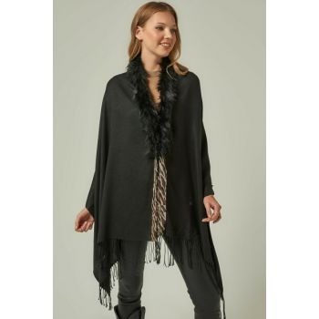 12114 Black Artificial Fur Poncho with Zebra Stripe SAL-5775
