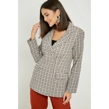 Double Breasted Plaid Jacket - Black-Red 20KCE239K114