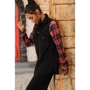 Women's Black Velvet Sleeve Plaid Garnished Shirt DNZ-3086