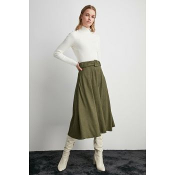 Khaki Belt Detailed Skirt TWOAW20ET0105