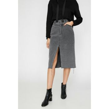 Women's Gray Patterned Jean Skirt 0KAK77035MD