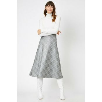 Women's Yellow Plaid Skirt 0KAK73627EK