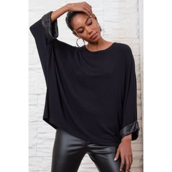 Women's Black Leather Band Oversize Loose Blouse ALC-016-216-BF