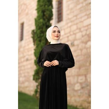 Black Velvet Hijab Dress with Cape 5060-7