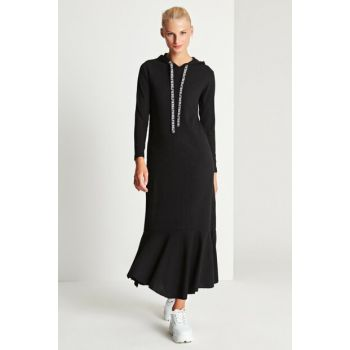 Women's Black Hoodie Dress 50170