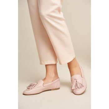 Genuine Leather Light Pink Women Shoes 120130005437