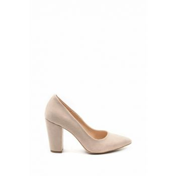 Beige Suede Women's Heeled Shoes 23282