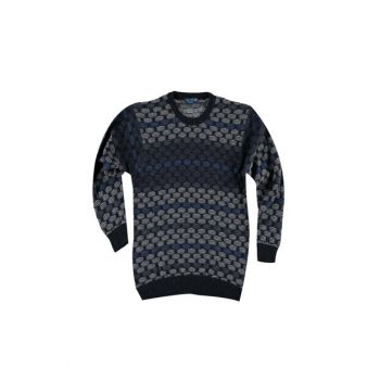 Bicycle Neck Woolen Patterned Sweater Pullover 88572