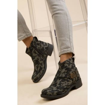 Gray Camouflage Men Boots 2851