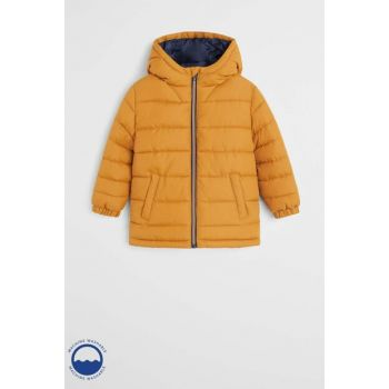Mustard Color Boys' Hooded Quilted Coat 53055009