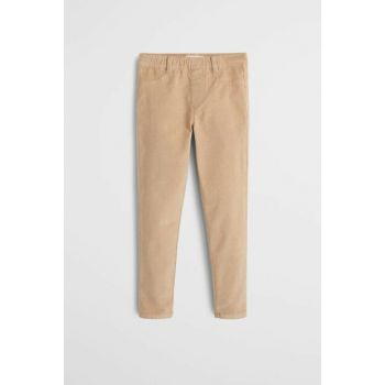 Beige Girls' Narrow Trousers, Velvet Pants 53085725