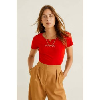 Women's Red Logo Embroidered T-Shirt 53030653