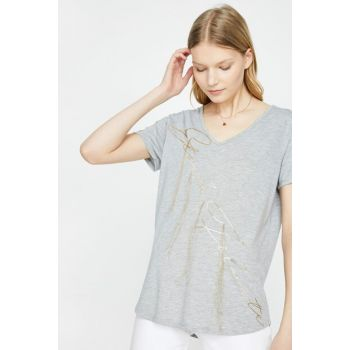 Women's Gray V Neck Short Sleeve T-Shirt 9YAK13835GK