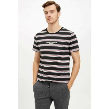 Men's Black Striped Slim Fit T-shirt L3759AZ.19AU.BK27