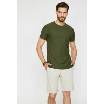Men's Green Crew Neck Short Sleeve T-Shirt 0KAM12059LK