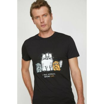 Men's Black Printed T-Shirt 0KAM14967OK