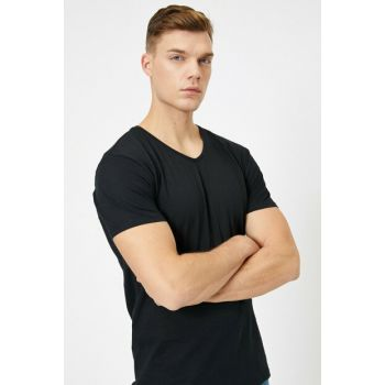 Men's Black V Neck T-Shirt 0YAM12138LK