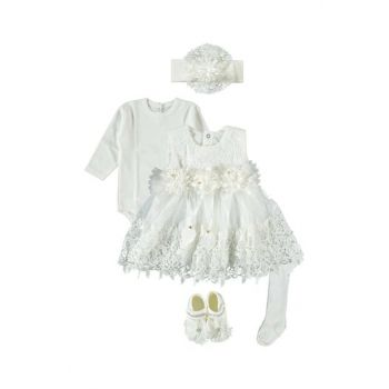 Laced, Baby Girl 5 Piece Dress Seasonality Suit, Wedding, Henna Gown Ecru 0-6 Months PE332