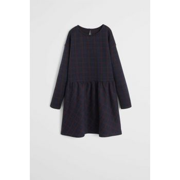 Navy Blue Girl Patterned Cotton Dress 53063736