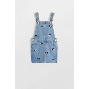 Dull Blue Girls Kids Mickey Mouse Jeans Gilet Dress 53010810
