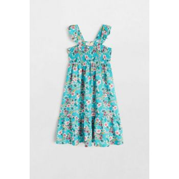 Turquoise Girl's Tropical Patterned Dress 53080843