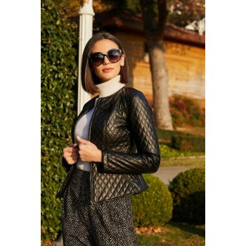 Quilted Leather Jacket with Zipper - BLACK 20KCE139K257