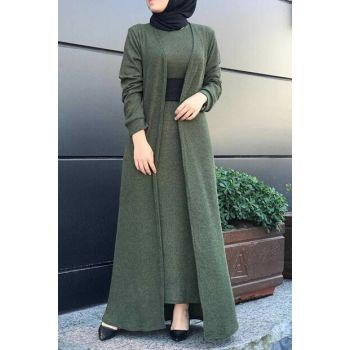 Women's Khaki Hijab Double Set 6066-007