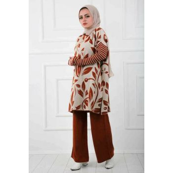 Women Cream Hijab Tricot Suit 6088-018