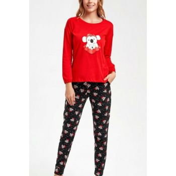 Women's Red Black Koalina Pajama Set SH20460660083