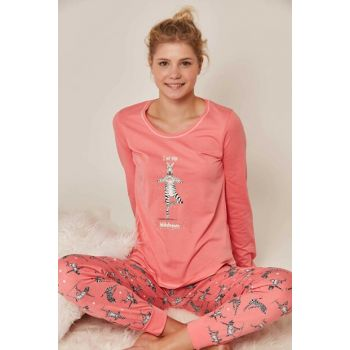Women's Pink Long Sleeve Pajama Set 804283 Y19W137-8042833229