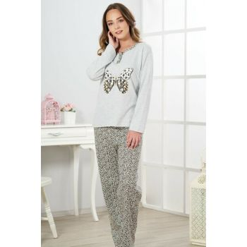 Women's Gray Melange Interlock Pajama Set 19320