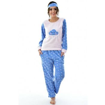 Women's Blue Eye Banded Fleece Pajama Set 4209