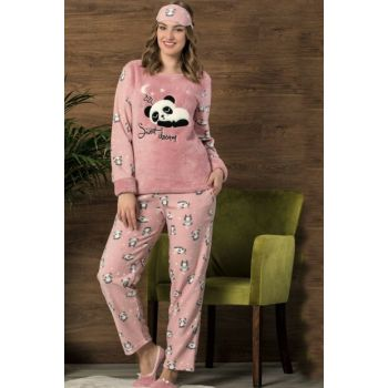 Women's Pink Patterned Eye Banded Fleece Pajama Set 4445
