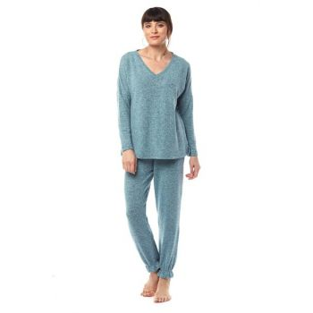 Women's Green Melange Sports Pajama Set W1963A