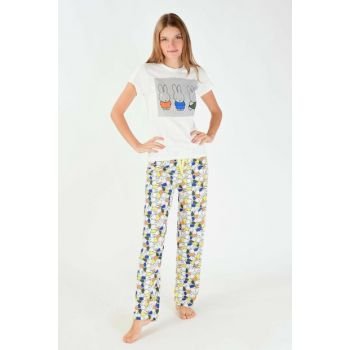 Women's Cream Printed Pajama Set PJM11261 - G12 ADX-0000016534