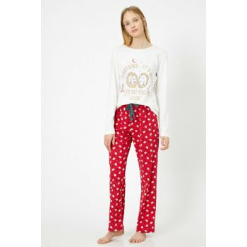 Women's Red Printed Pajama Set 0KLK79209MK