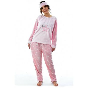 Women Pink Eye Banded Fleece Pajama Set 4208