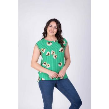 Women's Green Piping Blouse 34099